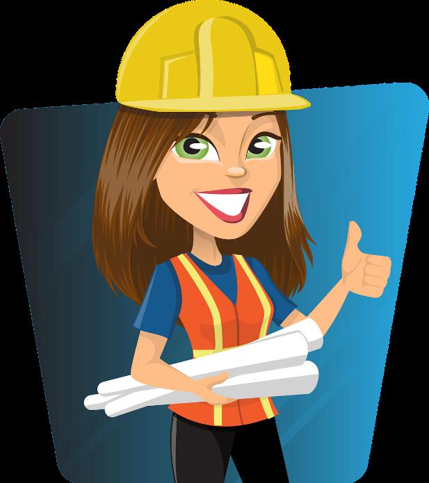 Grafik einer Person mit langen braunen Haaren und grünen Augen. Sie trägt einen gelben Helm, eine orangene Warnweste über einem blauen T-Shirt. Sie hält 3 lange Rollen Pergament unter den Armen, zeigt ihre Zähne (großes Lächeln) und hält einen Daumen in die Höhe. Der Hintergrund ist blau.